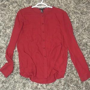 Burgundy button down blouse